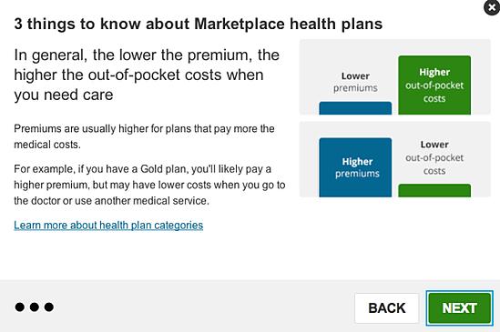 healthcare.gov screenshots